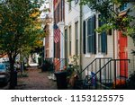 brick row houses in old town ... | Shutterstock . vector #1153125575