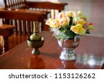 the set of brass pots used for... | Shutterstock . vector #1153126262