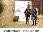 riding lesson. professional... | Shutterstock . vector #1153134485