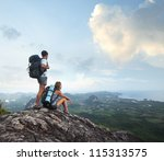 hikers with backpacks enjoying... | Shutterstock . vector #115313575