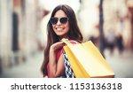 woman in shopping. happy woman... | Shutterstock . vector #1153136318