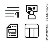 outline set of 4 word icons... | Shutterstock .eps vector #1153148648