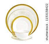 golden dinner set  cookware set ... | Shutterstock . vector #1153158422