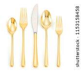 golden spoon set  antique... | Shutterstock . vector #1153158458