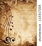 old music sheet with musical... | Shutterstock . vector #115317205
