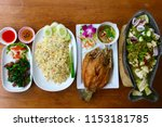 Background Of Dishes Of Thai...