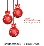 christmas balls hanging with... | Shutterstock . vector #115318936