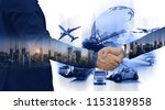 logistic import export and...   Shutterstock . vector #1153189858