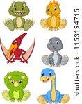 cute baby dinosaurs cartoon... | Shutterstock .eps vector #1153194715