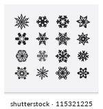 snowflake winter set  vector   2 | Shutterstock .eps vector #115321225