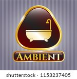 gold emblem or badge with... | Shutterstock .eps vector #1153237405