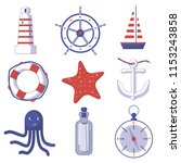 vector set of sea theme objects | Shutterstock .eps vector #1153243858