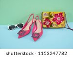 embroidered flowers handbag   ... | Shutterstock . vector #1153247782