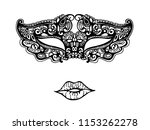 lace mask and lips. | Shutterstock .eps vector #1153262278