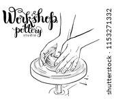 hands of potter on mechanical...   Shutterstock .eps vector #1153271332