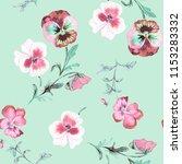wild pansy watercolor... | Shutterstock . vector #1153283332