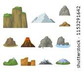 different mountains cartoon... | Shutterstock .eps vector #1153291642