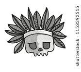 stippled funny skull with... | Shutterstock .eps vector #1153292515