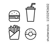 fast food set  burger  drinks ... | Shutterstock .eps vector #1153292602