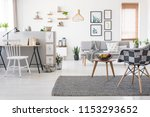 checkered  stylish chair on a... | Shutterstock . vector #1153293652