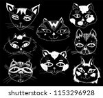 cats heads emoticons. hand... | Shutterstock .eps vector #1153296928
