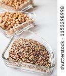 tri color quinoa on glass ware | Shutterstock . vector #1153298998