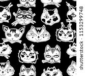 seamless pattern with cute cats ... | Shutterstock .eps vector #1153299748