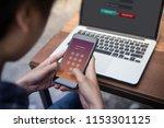 businessman working on laptop... | Shutterstock . vector #1153301125