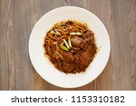 stir fried hofun  large noodle  ... | Shutterstock . vector #1153310182