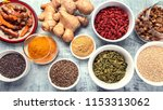 various superfoods. healthy... | Shutterstock . vector #1153313062