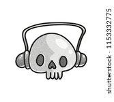 stippled funny skull with... | Shutterstock .eps vector #1153332775