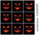 jack o'lantern scary faces | Shutterstock .eps vector #115335295