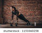 fitness woman doing pushups... | Shutterstock . vector #1153360258