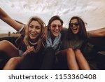 portrait of three women sitting ... | Shutterstock . vector #1153360408