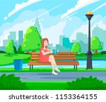 young woman holding book and...   Shutterstock .eps vector #1153364155