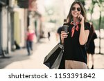 portrait of woman holding paper ... | Shutterstock . vector #1153391842