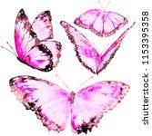 beautiful pink butterflies  set ...   Shutterstock . vector #1153395358