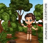young cute boy scout cartoon... | Shutterstock .eps vector #1153397698