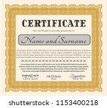orange certificate of... | Shutterstock .eps vector #1153400218