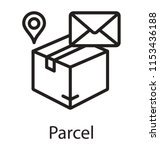a package with envelope  and... | Shutterstock .eps vector #1153436188