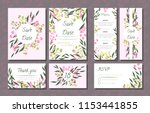 floral wedding invitation with... | Shutterstock .eps vector #1153441855