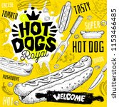 hot dog cafe restaurant menu.... | Shutterstock .eps vector #1153466485
