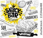 snack bar cafe restaurant menu. ... | Shutterstock .eps vector #1153466488