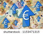 euro is rapidly gaining value... | Shutterstock . vector #1153471315
