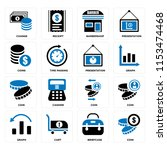 set of 16 icons such as coin ...