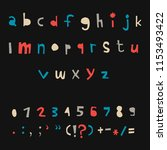 carved alphabet number and... | Shutterstock .eps vector #1153493422