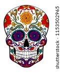 sugar skull  day of death...   Shutterstock .eps vector #1153502965