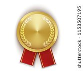 gold medal with laurel wreath... | Shutterstock .eps vector #1153507195