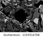 dark cracked broken hole in... | Shutterstock . vector #1153516708