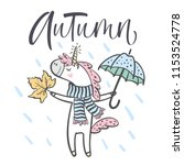 hand drawn cute autumn unicorn... | Shutterstock .eps vector #1153524778